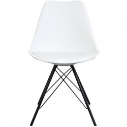 Eames Eiffel Style Dining Chair - White/ Black Legs Front View
