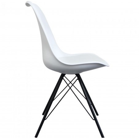 Eames Eiffel Style Dining Chair - White/ Black Legs Side View