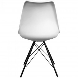 Eames Eiffel Style Dining Chair - White/ Black Legs Rear View
