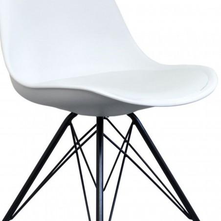 Eames Eiffel Style Dining Chair - White/Black Legs Seat Detail