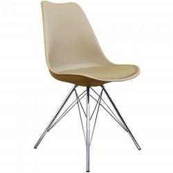 Eames Eiffel Style Dining Chair - Beige/ Chrome Legs