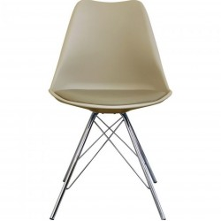 Eames Eiffel Style Dining Chair - Beige/ Chrome Legs Front View
