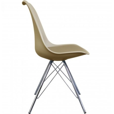 Eames Eiffel Style Dining Chair - Beige/ Chrome Legs Side View