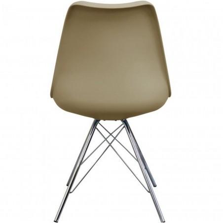 Eames Eiffel Style Dining Chair - Beige/ Chrome Legs Rear View
