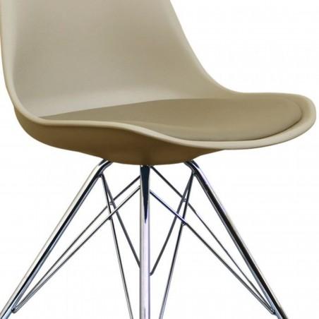 Eames Eiffel Style Dining Chair - Beige/ Chrome Legs Seat Detail