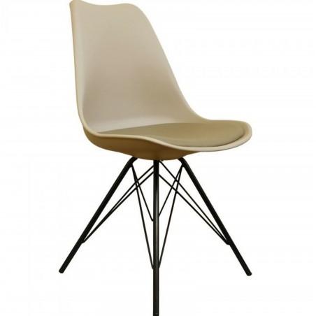 Eames Eiffel Style Dining Chair - Beige/ Black Legs