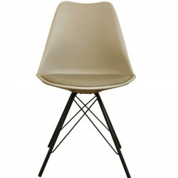 Eames Eiffel Style Dining Chair - Beige/ Black Legs Front View