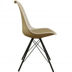Eames Eiffel Style Dining Chair - Beige/ Black Legs Side View