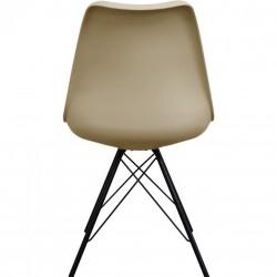 Eames Eiffel Style Dining Chair - Beige/ Black Legs Rear View