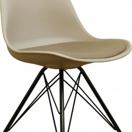 Eames Eiffel Style Dining Chair - Beige/ Black Legs Seat Detail