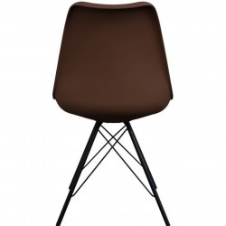 Eames Eiffel Style Dining Chair - Coffee/ Black Legs Rear View