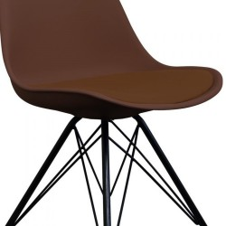 Eames Eiffel Style Dining Chair - Coffee/ Black Legs Seat Detail