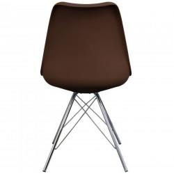 Eames Eiffel Style Dining Chair - Coffee/ Chrome Legs Rear View