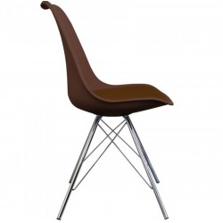 Eames Eiffel Style Dining Chair - Coffee/ Chrome Legs Side View