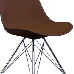 Eames Eiffel Style Dining Chair - Coffee/ Chrome Legs Seat Detail