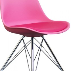 Eames Eiffel Style Dining Chair - Pink/ Chrome Legs Seat Detail