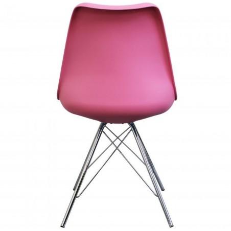 Eames Eiffel Style Dining Chair - Pink/ Chrome Legs Rear View
