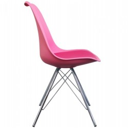 Eames Eiffel Style Dining Chair - Pink/ Chrome Legs Side View