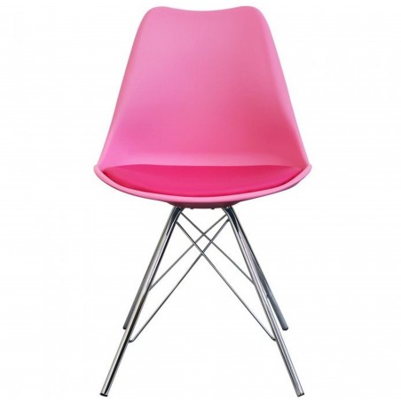 Eames Eiffel Style Dining Chair - Pink/ Chrome Legs Front View