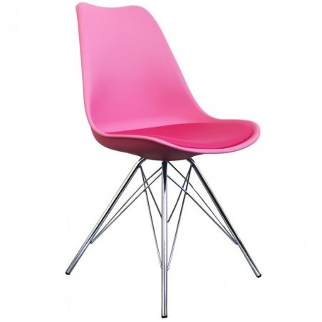 Eames Eiffel Style Dining Chair - Pink/ Chrome Legs