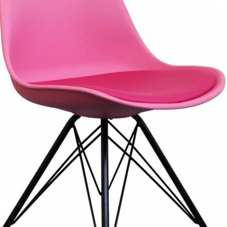 Eames Eiffel Style Dining Chair - Pink/ Black Legs Seat Detail
