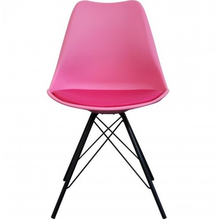 Eames Eiffel Style Dining Chair - Pink/ Black Legs Front View
