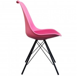 Eames Eiffel Style Dining Chair - Pink/ Black Legs Side View