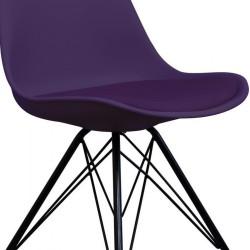 Eames Eiffel Style Dining Chair - Purple/ Black Legs Seat Detail