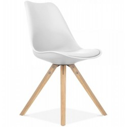Eames Style Dining Chair - White Natural Legs