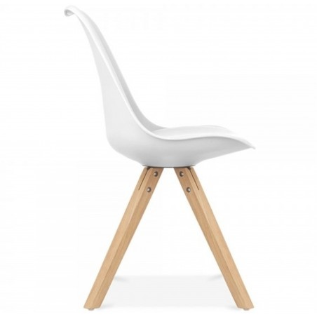Eames Style Dining Chair With Pyramid Wooden Legs