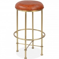 Oxsted Black Faux Leather Metal Bar Stool Tan/ Gold Front View