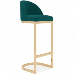 Calne Metal 75cm Bar Stool - Teal/ Brass Legs