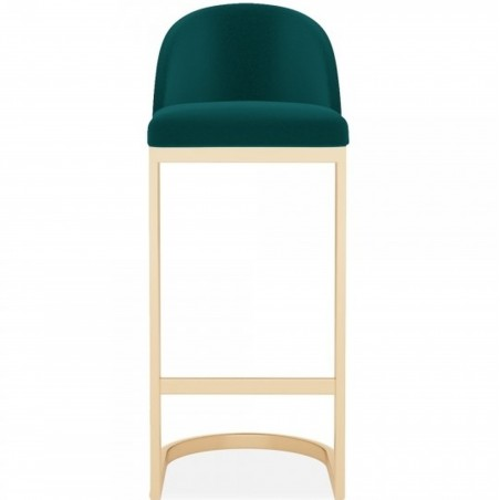 Calne Metal 75cm Bar Stool - Teal/ Brass Legs Front View