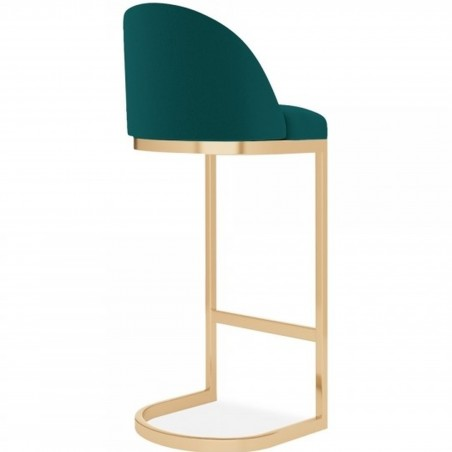 Calne Metal 75cm Bar Stool - Teal/ Brass Legs Angled Rear View