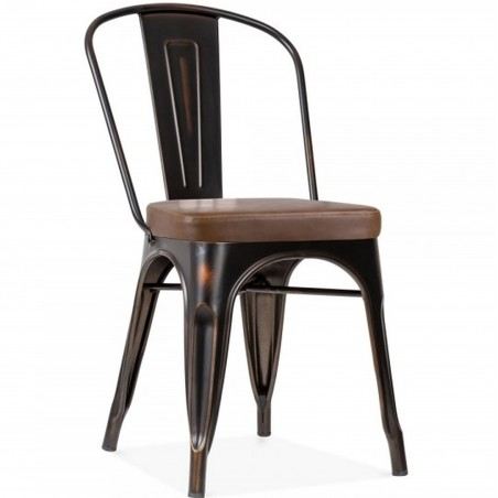 Tolix Style Side Chair -Distressed Copper/ Brown Seat