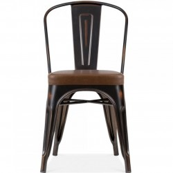 Tolix Style Side Chair -Distressed Copper/ Brown Seat Front View