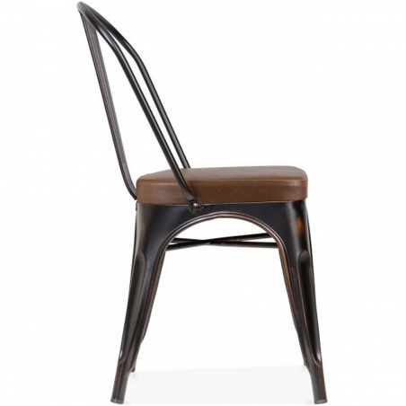 Tolix Style Side Chair -Distressed Copper/ Brown Seat Side View