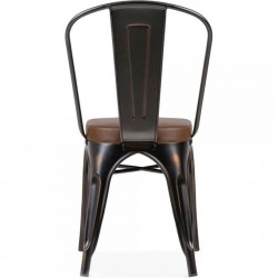 Tolix Style Side Chair -Distressed Copper/ Brown Seat Rear View