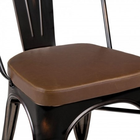 Tolix Style Side Chair -Distressed Copper/ Brown Seat Detail