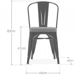 Tolix Style Side Chair - Dimensions