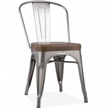 Tolix Style Side Chair -Gunmetal/ Brown Seat