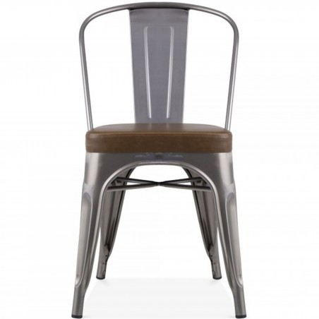 Tolix Style Side Chair -Gunmetal/ Brown Seat Front View