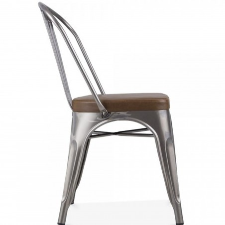 Tolix Style Side Chair -Gunmetal/ Brown Seat Side View