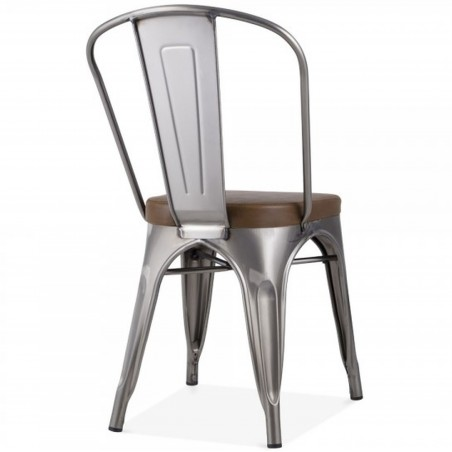 Tolix Style Side Chair -Gunmetal/ Brown Seat Angled Rear View
