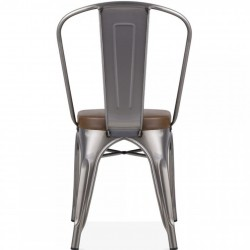 Tolix Style Side Chair -Gunmetal/ Brown Seat Rear View