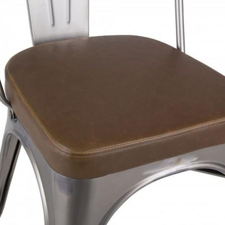 Tolix Style Side Chair -Gunmetal/ Brown Seat Detail