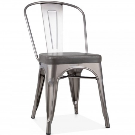 Tolix Style Side Chair -Gunmetal/ Grey Seat