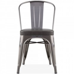Tolix Style Side Chair -Gunmetal/ Grey Seat Front View