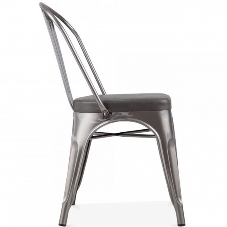 Tolix Style Side Chair -Gunmetal/ Grey Seat Side View