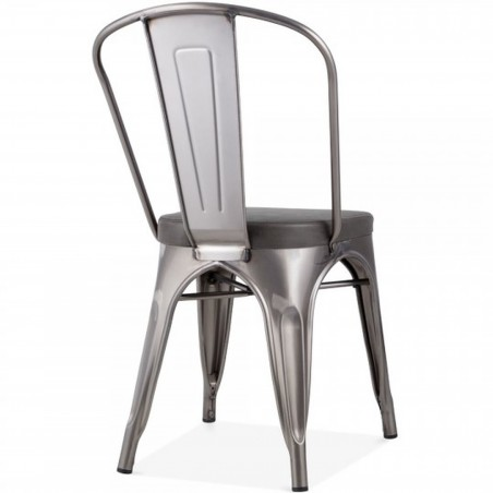 Tolix Style Side Chair -Gunmetal/ Grey Seat Angled Rear View